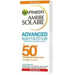 Garnier Ambre Solaire Advanced Sensitive Protezione Solare Viso Anti Lucidità e Anti Imperfezioni IP50+ 50 ml