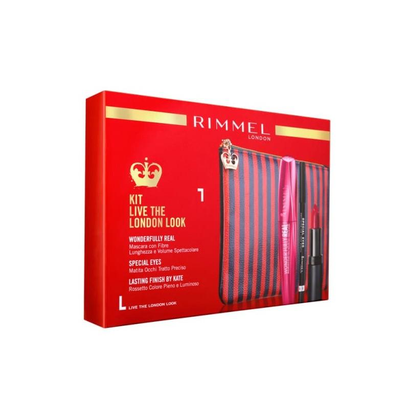 Rimmel KIT LIVE THE LONDON LOOK Pochette + mascara wonderfully real + matita occhi + rossetto lasting finish