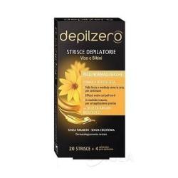 Depilzero strisce depilatorie viso e bikini con olio di argan biologico pelle normale/secca 20pz+4 salviettine