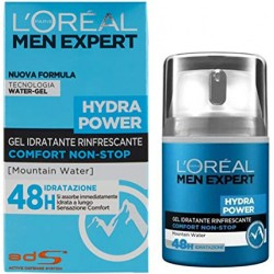 L'Oréal Paris Men Expert Hydra Power Crema Viso Uomo in Gel Idratante e Rinfrescante 48H, 50 ml